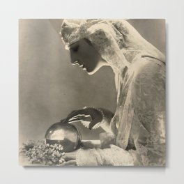 Beauty and the Crystal Ball black and white photograph Metal Print