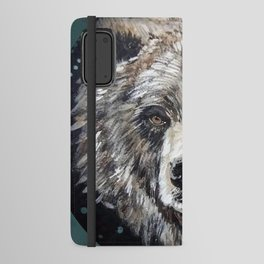 Grizzly bear, green Android Wallet Case