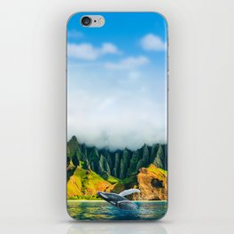 Hawaii whale watching boat tour at Na Pali Coast beach iPhone Skin