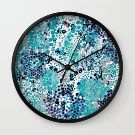 sparkling dots in teal and blueberry Wall Clock