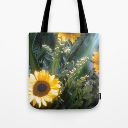 Sunflowers and Leaves Tote Bag