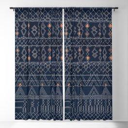 N53 - Blue Indigo Oriental Antique Traditional Moroccan Style Artwork Blackout Curtain