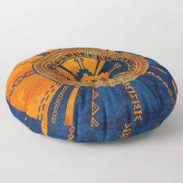 Hunab Ku Mayan symbol Orange and Blue Floor Pillow
