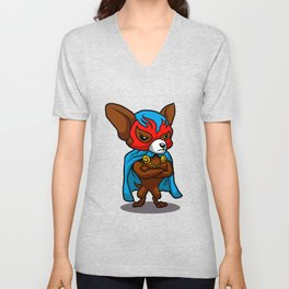 Cute dog chihuahua Fighter Lucha Libre Unisex V-Neck