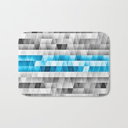 Blue Stripe Geometric Pattern Bath Mat