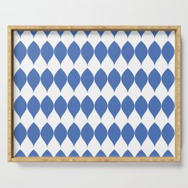 Geometric Blue Vector Leaves on White Serving Tray