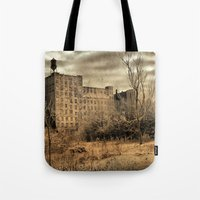 cityscape Tote Bags featuring Cityscape by The Strange Days Of Gothicrow