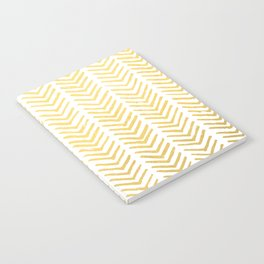 Brush painted chevron in gold Notebook