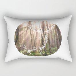 Circle Deer in Forest Rectangular Pillow