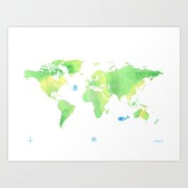 Green planet World map  Art Print