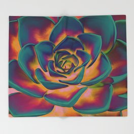 """Exotic Succulent Pop Art"" Throw Blanket"
