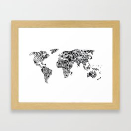 World Map in a mathematician universe Framed Art Print