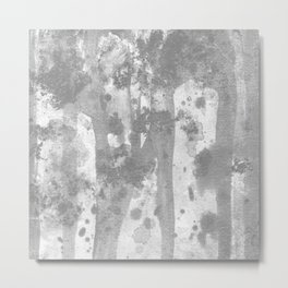 Ghost : gray and white abstract ink splatter and washes Metal Print