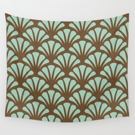 Brown and Mint Green Deco Fan Wall Tapestry