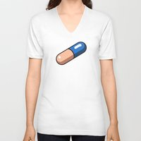 akira V-neck T-shirts featuring Akira Pill by azra