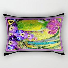 Chartreuse-Violet art Vase Pansies Floral Painting Rectangular Pillow