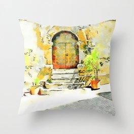 Door of the church Tortora Throw Pillow