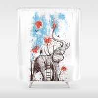 elephants Shower Curtains featuring A Happy Place by Norman Duenas