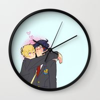 iwatobi Wall Clocks featuring Penguin and Butterfly  by Alyssa Tye