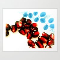 pomegranate Art Prints featuring Pomegranate by Yilan