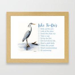 Lake to-do list, cottage sign Framed Art Print