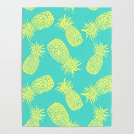 Pineapple Pattern - Turquoise & Lemon Poster