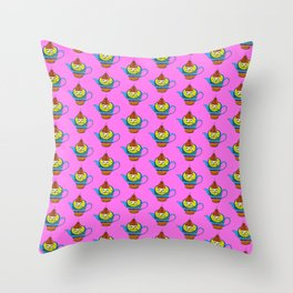 Dream Pattern - House in Cup - TeaPot - Dream Color - Pink Throw Pillow