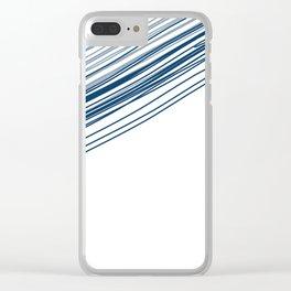 Blue & Grey stripe Clear iPhone Case