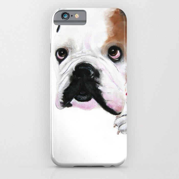 Nosey British Bulldog ' REGGIE ' by Shirley MacArthut iPhone Case