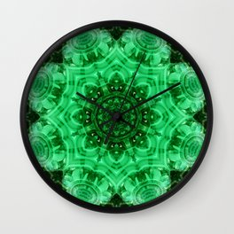 Malachite Star Mandala Wall Clock
