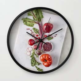 Red Organic Fruits and Vegetables Wall Clock