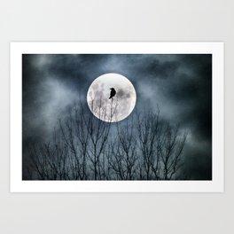 Night Raven Lit By The Full Moon Art Print