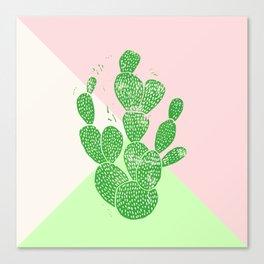 Linocut Cactus Tricolori Canvas Print