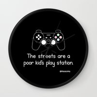 playstation Wall Clocks featuring PlayStation (Black) by Mokokoma Mokhonoana