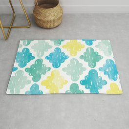 Watercolour Clouds | Yellow, Blue and Green Rug