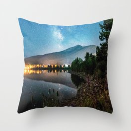 Grainy Nighttime Tones // Lake View Fuzzy Lens Photograph Beautiful Landscape with Mountains Throw Pillow