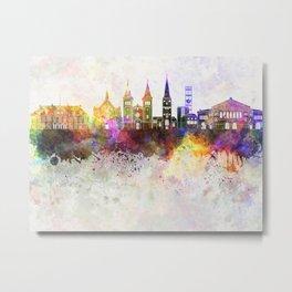 Aarhus skyline in watercolor background Metal Print