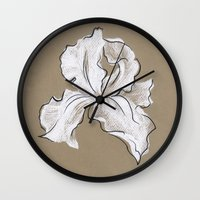 iris Wall Clocks featuring Iris  by Mich Li