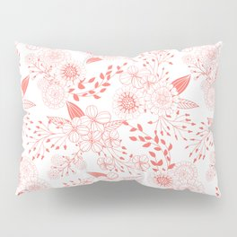 Doodle flowers in living coral  Pillow Sham