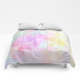 Abstract print of triangles, polygon in pastel colors Comforters