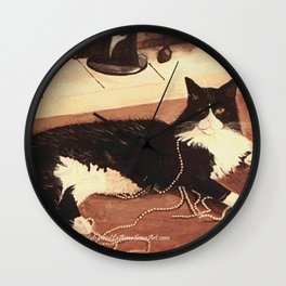 Puss 'N Pearls Wall Clock