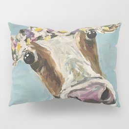 Flower Crown Cow Art, Cute Cow With Flower Crown Pillow Sham