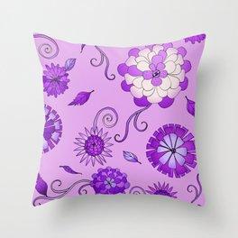 Purple Crazy Daisy pattern Throw Pillow