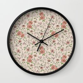 Spring Floral Pattern Wall Clock