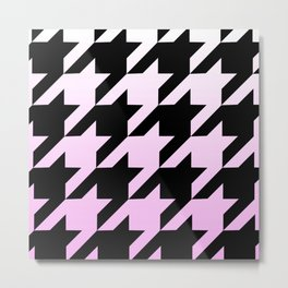 Marshmallow Pink Ombre Houndstooth Metal Print