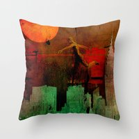 takmaj Throw Pillows featuring Jump on the green city by Ganech joe