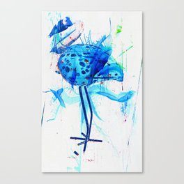 Turquoise heron watercolor Canvas Print