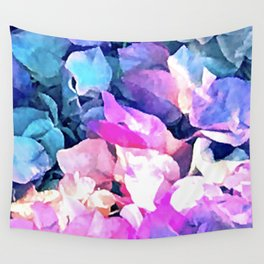 Pink And Blue Fairytale Floral Petals Wall Tapestry