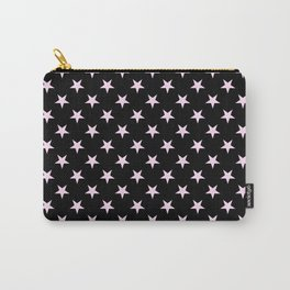 Pink Lace Pink on Black Stars Carry-All Pouch