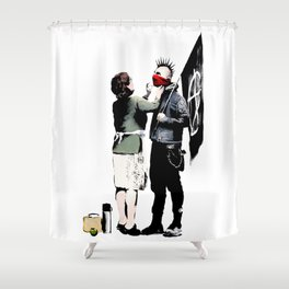 Banksy, Anarchist Punk And His Mother Artwork, Posters, Prints, Bags, Tshirts, Men, Women, Kids Shower Curtain